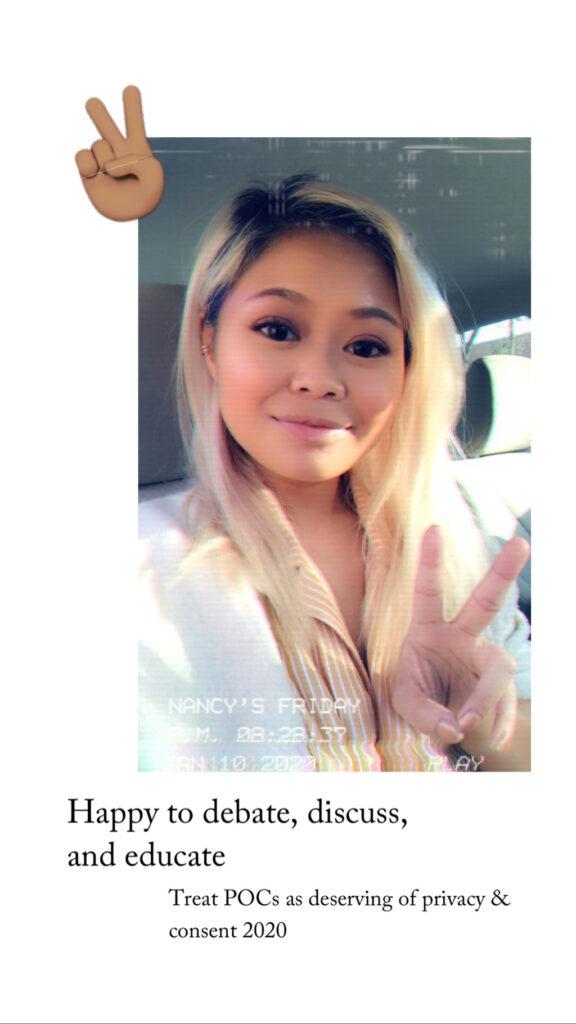 Nancy Hoang gives peace sign to Luke Beard